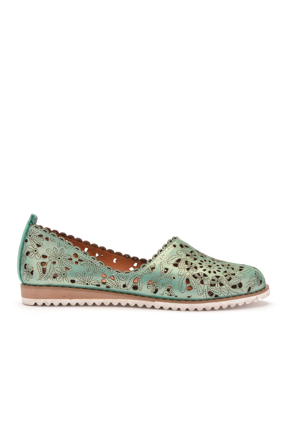 Pegia Открытая Женская Обувь Из Натуральной Кожи REC-141 Зеленый