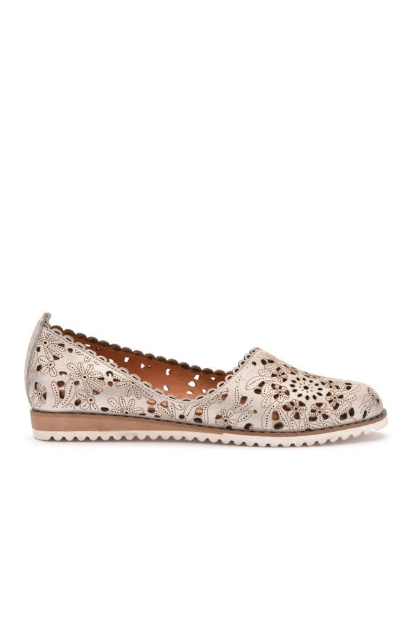 Pegia Women Shoes From Genuine Leather Silver