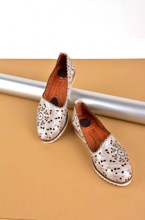 Pegia Hakiki Deri Kadın Ayakkabı Gümüş