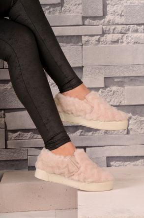 Pegia Hakiki Kürklü Bayan Sneaker Pudra