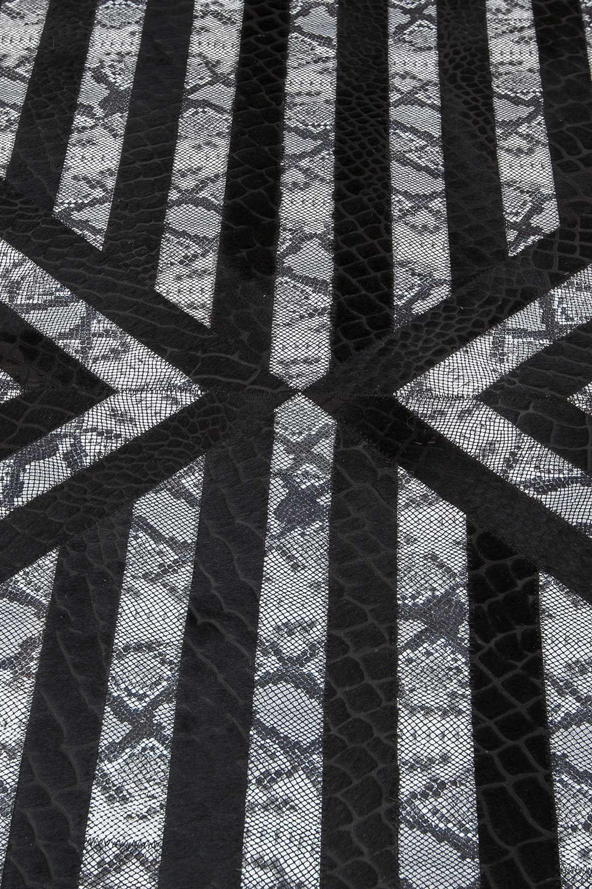 Erdogan Deri Leather Rug With Crocodile Geometric Pattern Black