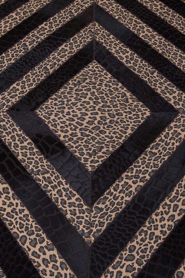 Erdogan Deri Leather Rug With Leopard Pattern Brown
