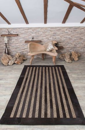 Erdogan Deri Rug From Leopard Leather With Crocodile Pattern Brown