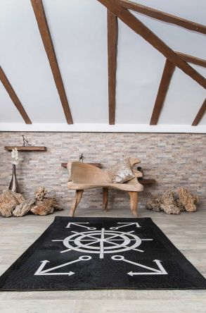 Erdogan Deri Calfskin Rug With Maritime Pattern Black