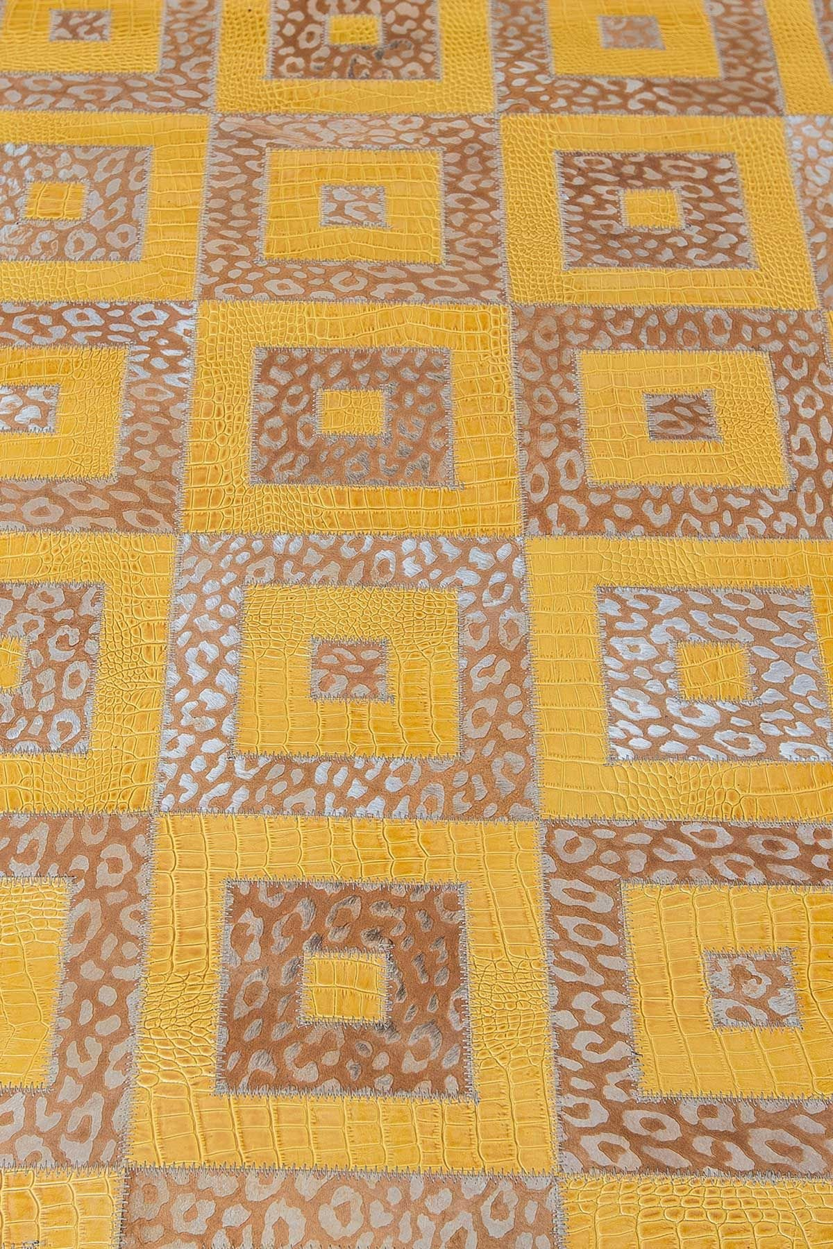 Erdogan Deri Leather Rug With Square Pattern Orange
