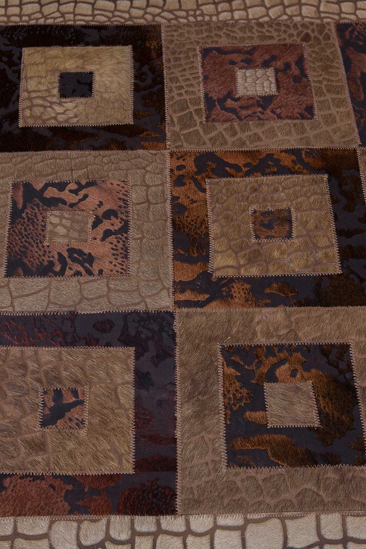 Erdogan Deri Leather Rug With Crocodile And Square Pattern Brown