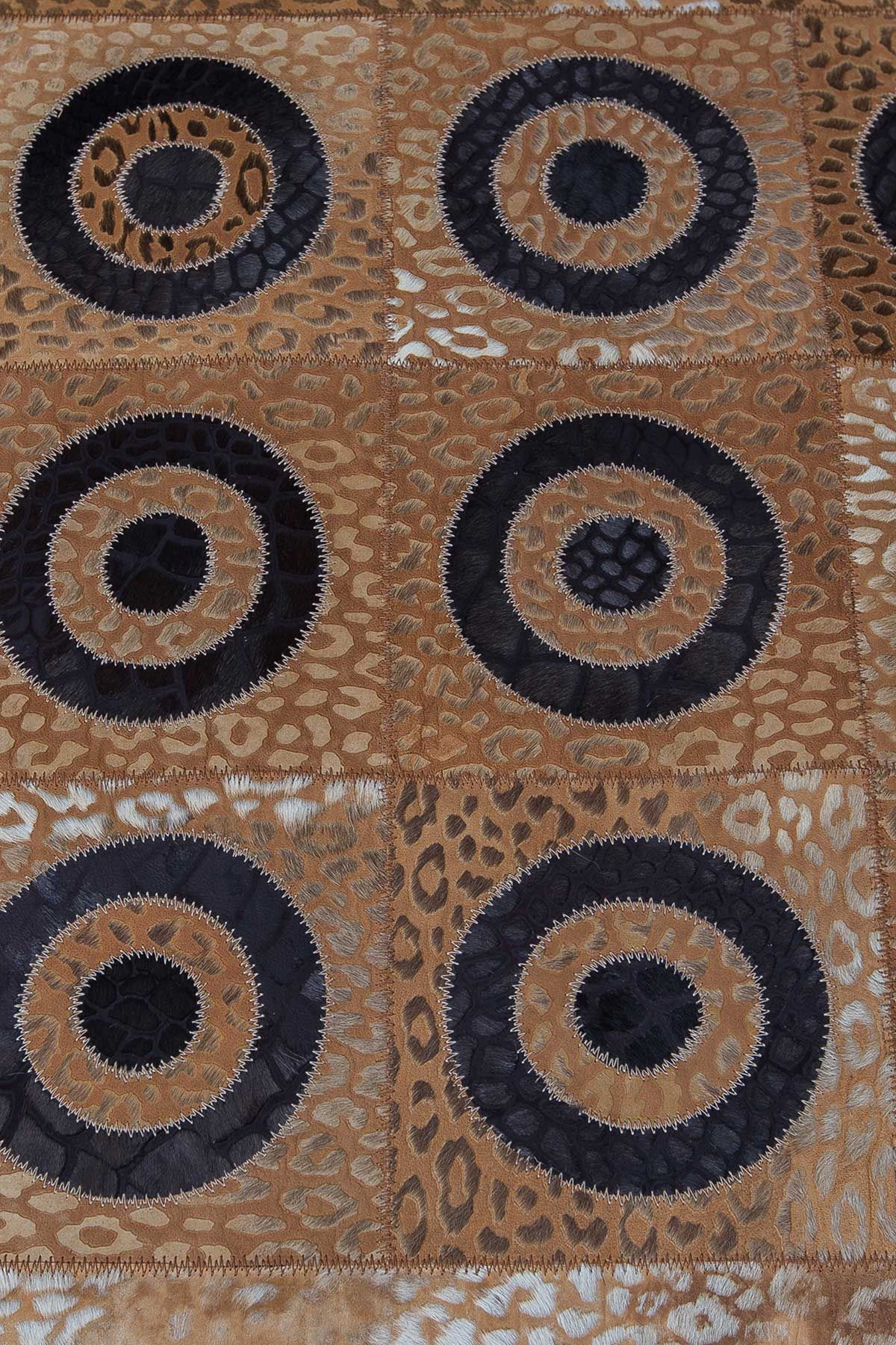 Erdogan Deri Leather Rug With Circular Pattern Brown