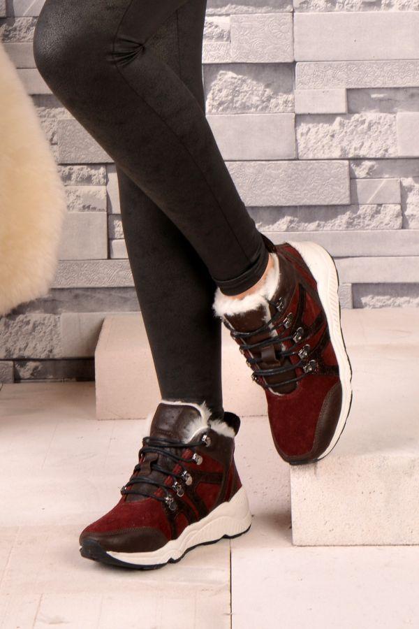 Шнурованные Женские Ботинки Из Натурального Меха Бордовый