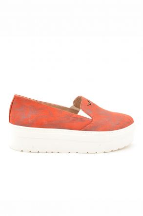 Art Goya High-Soled Women Sneakers From Genuine Leather With Pattern Brick-red