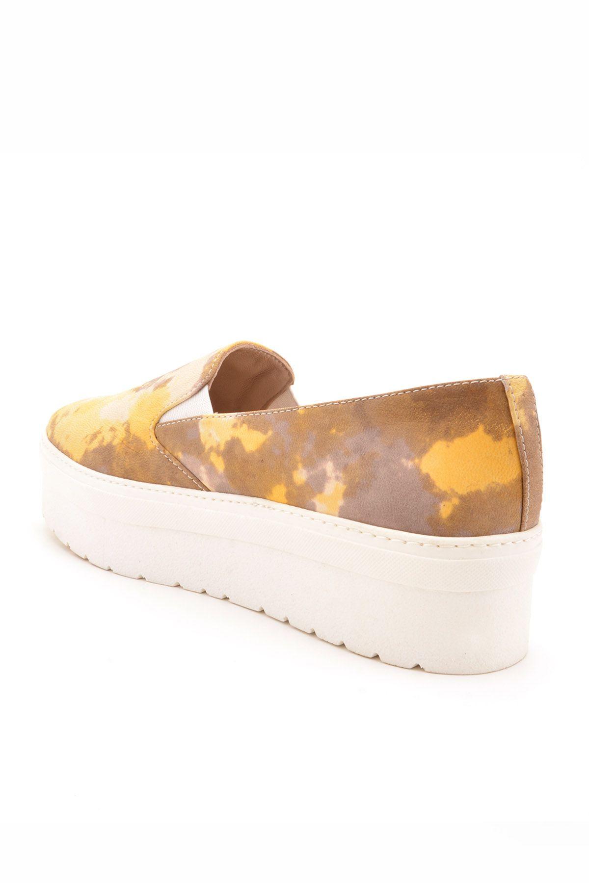 Art Goya Hakiki Deri Yüksek Taban Bayan Sneaker Sarı