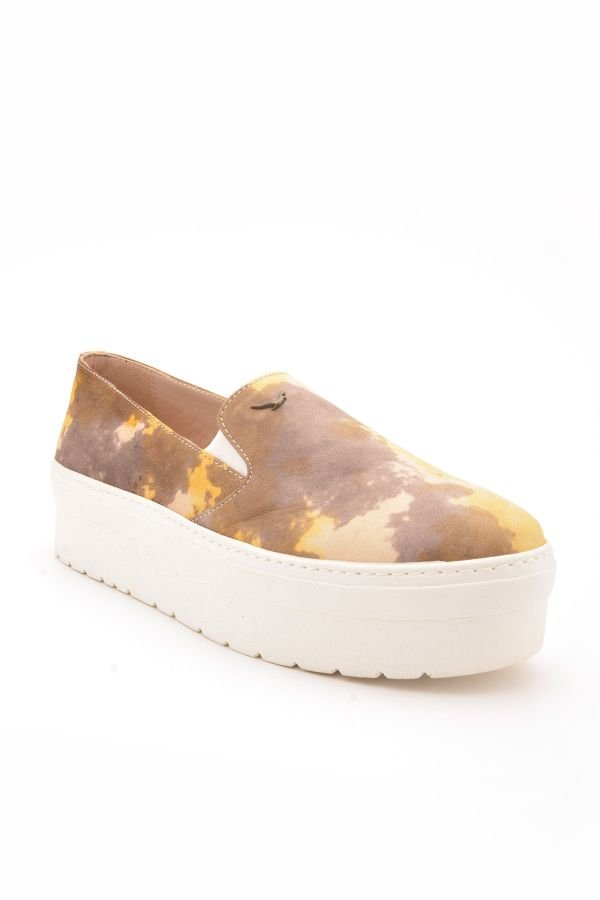 Art Goya High-Soled Women Sneakers From Genuine Leather With Pattern Yellow