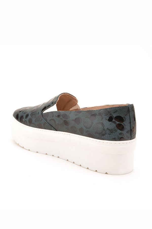 Art Goya High-Soled Women Sneakers From Genuine Leather With Pattern Blue