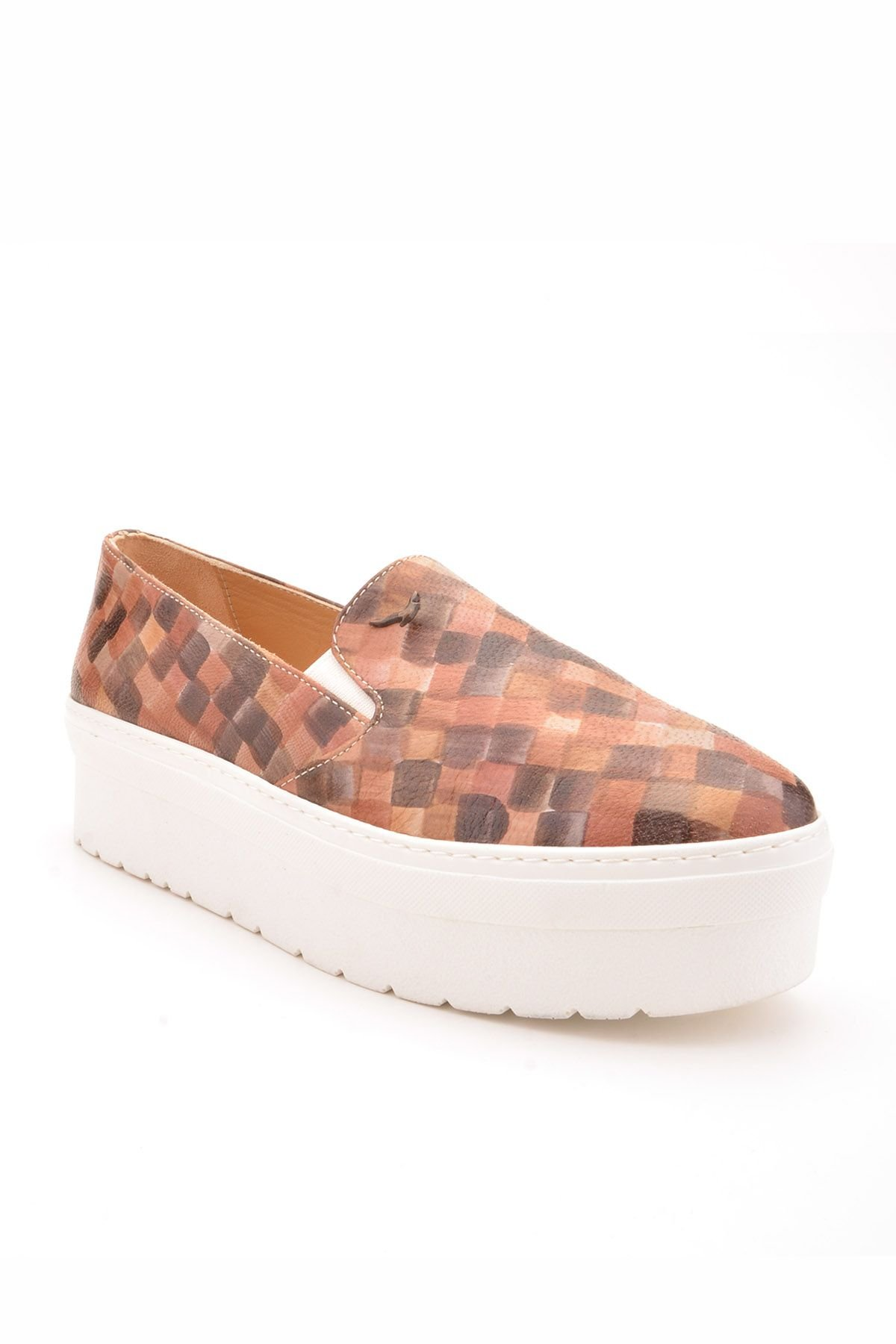 Art Goya High-Soled Women Sneakers From Genuine Leather With Square Pattern Brown