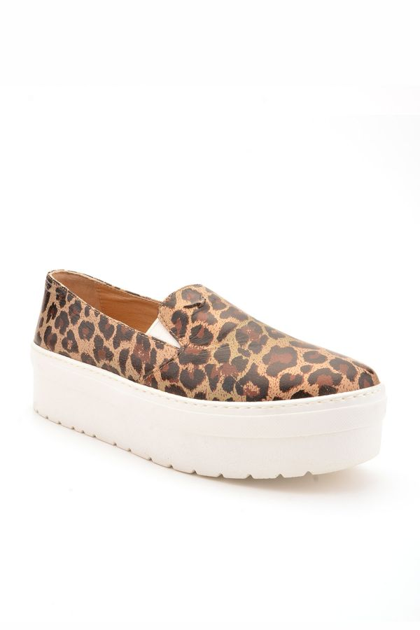 Art Goya High-Soled Women Sneakers From Genuine Leather With Leopard Pattern Bronze