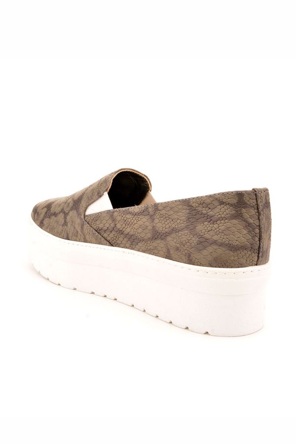 Art Goya High-Soled Women Sneakers From Genuine Leather With Snake Pattern Gray