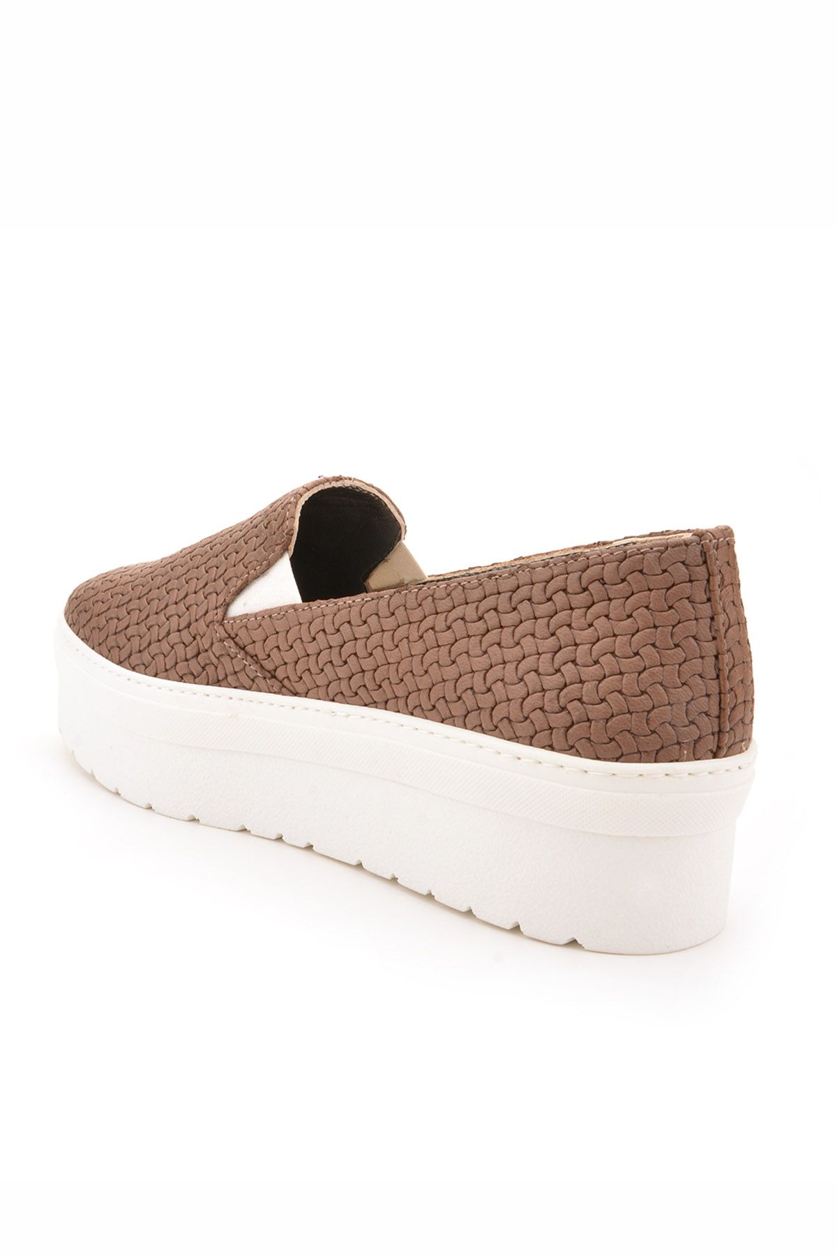 Art Goya High-Soled Women Sneakers From Genuine Leather With Braided Pattern Mink