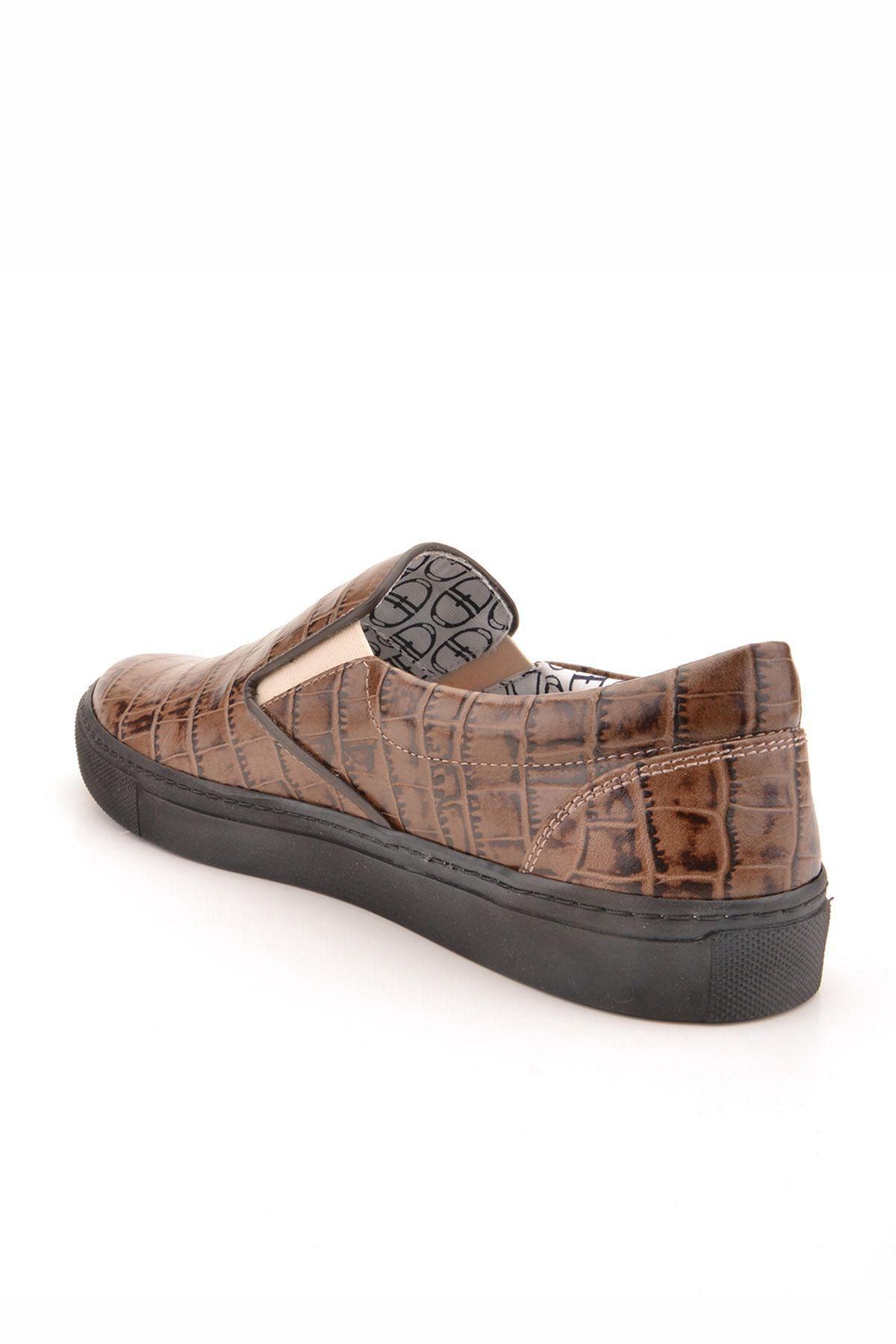 Art Goya Women Sneakers From Genuine Leather Wıth Crocodyle Pattern Mink