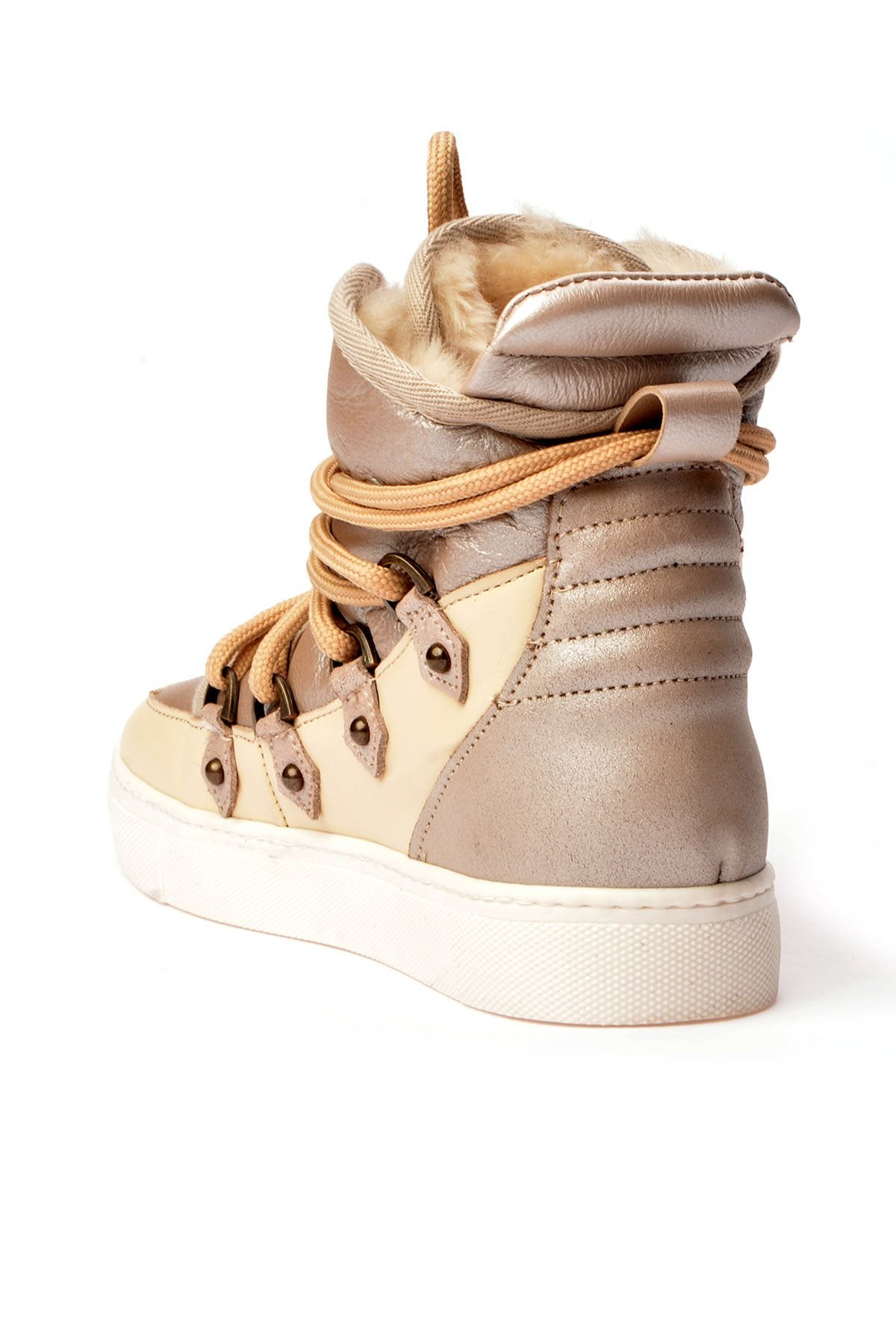 Alba Laced Women Sneakers From Genuine Leather And Fur Beige