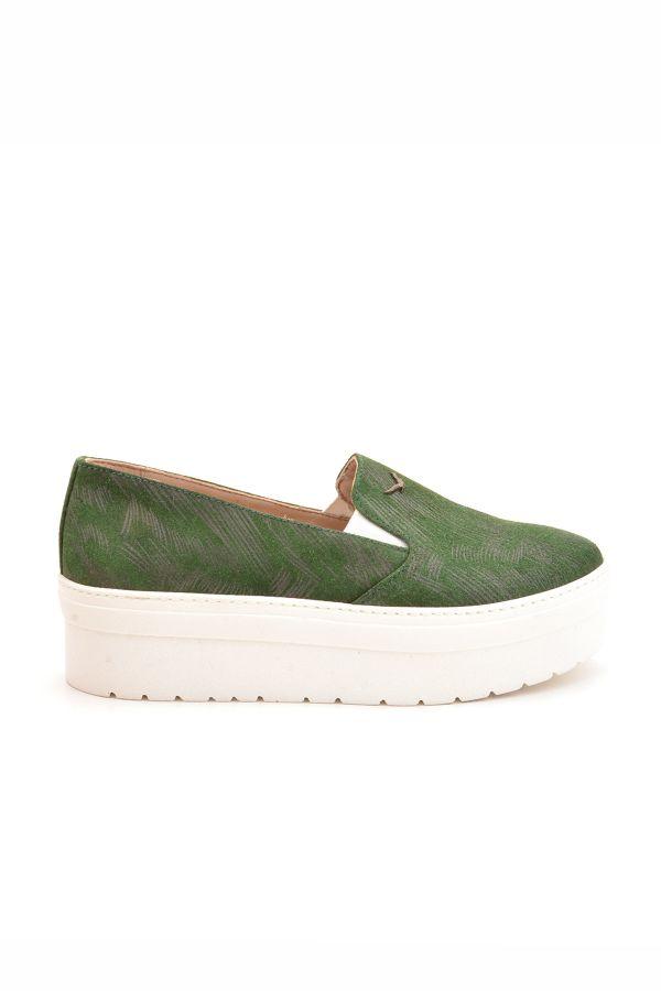 Art Goya Hakiki Deri Yüksek Taban Kadın Sneaker  Yeşil