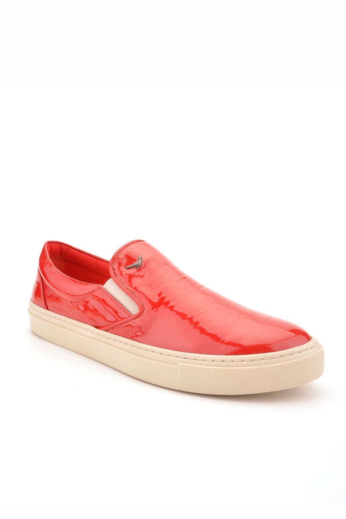 Art Goya Hakiki Rugan Deri Bayan Sneaker  Kırmızı