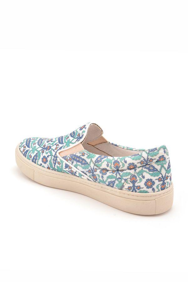 Art Goya Women Sneakers With Flower Pattern Green