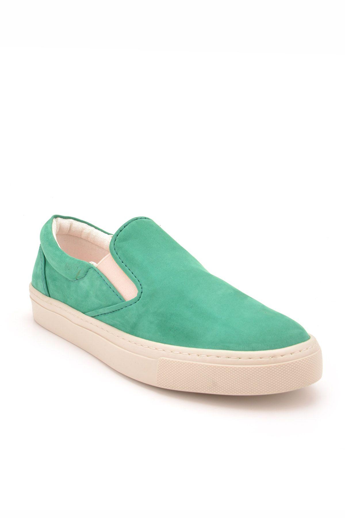 Art Goya Hakiki Nubuk Bayan Sneaker  Yeşil