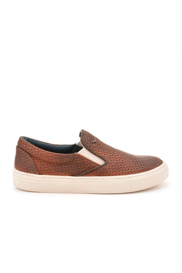Art Goya Women Sneakers From Genuine Leather With Knitted Pattern Brown
