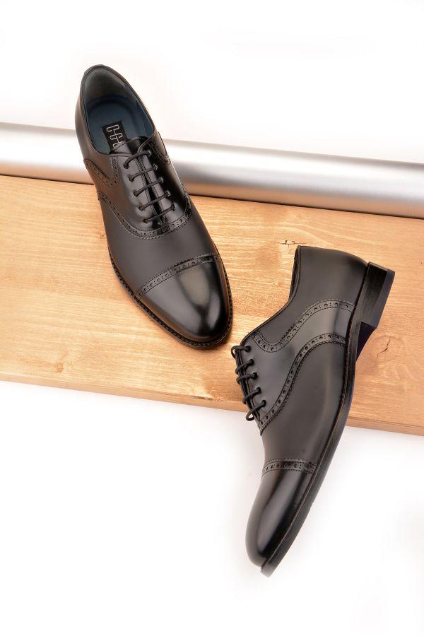 Koza Hakiki Deri Kösele Taban Erkek Ayakkabı  Siyah