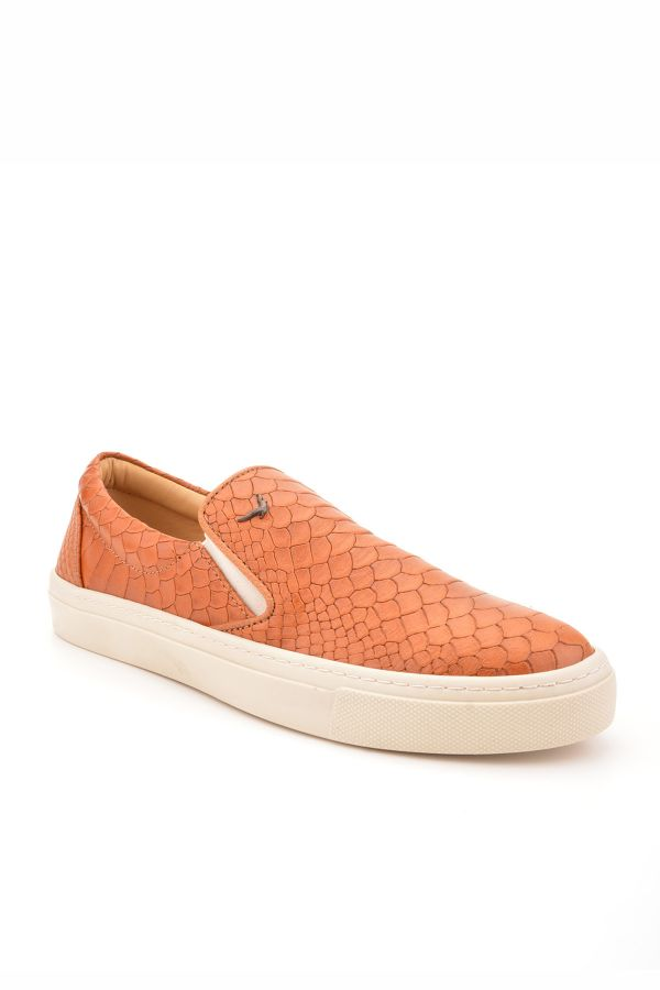 Art Goya Women Sneakers From Genuine Leather With Crocodile Pattern Ginger