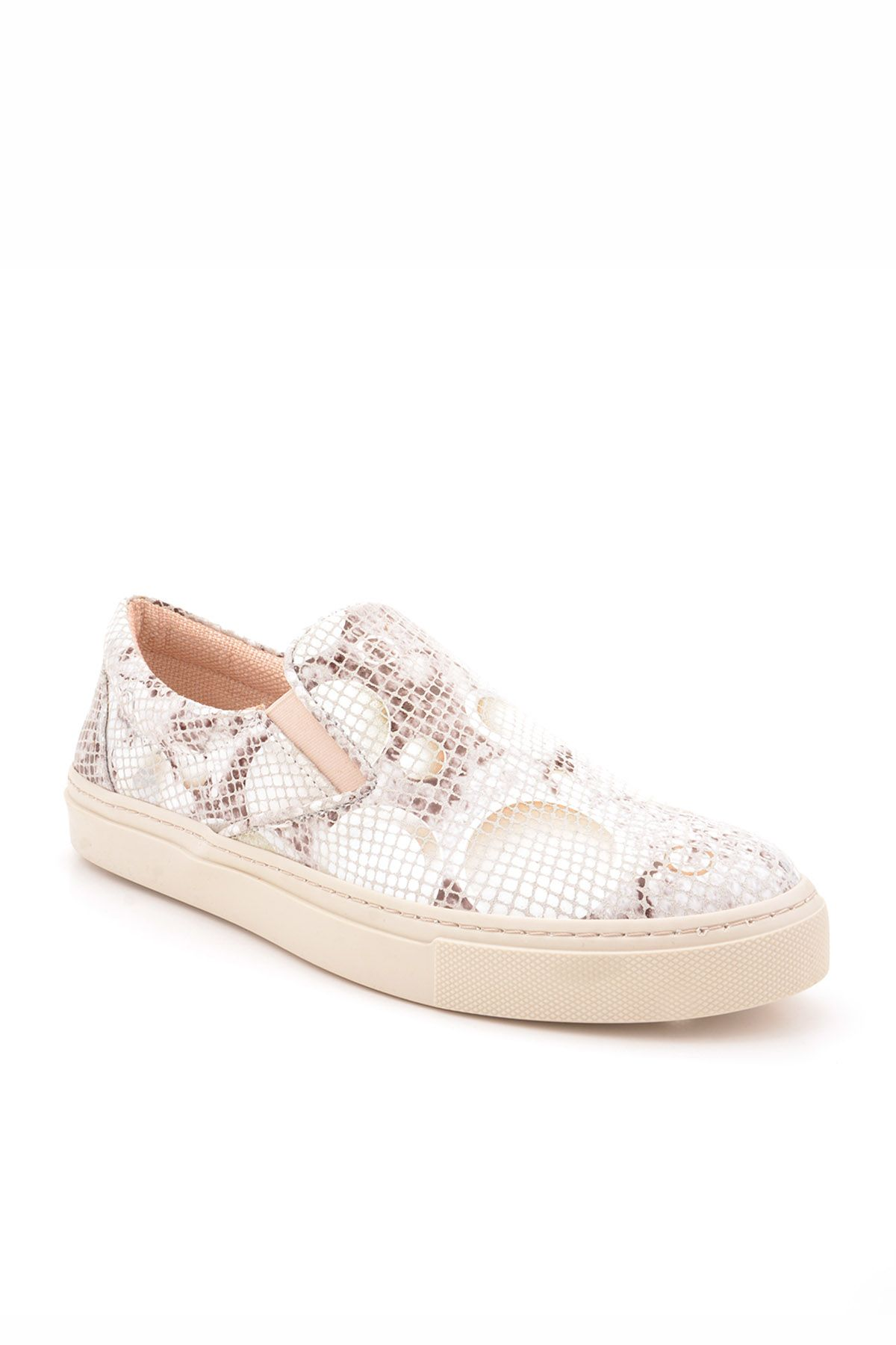 Art Goya Women Sneakers From Genuine Leather With Snake Pattern White