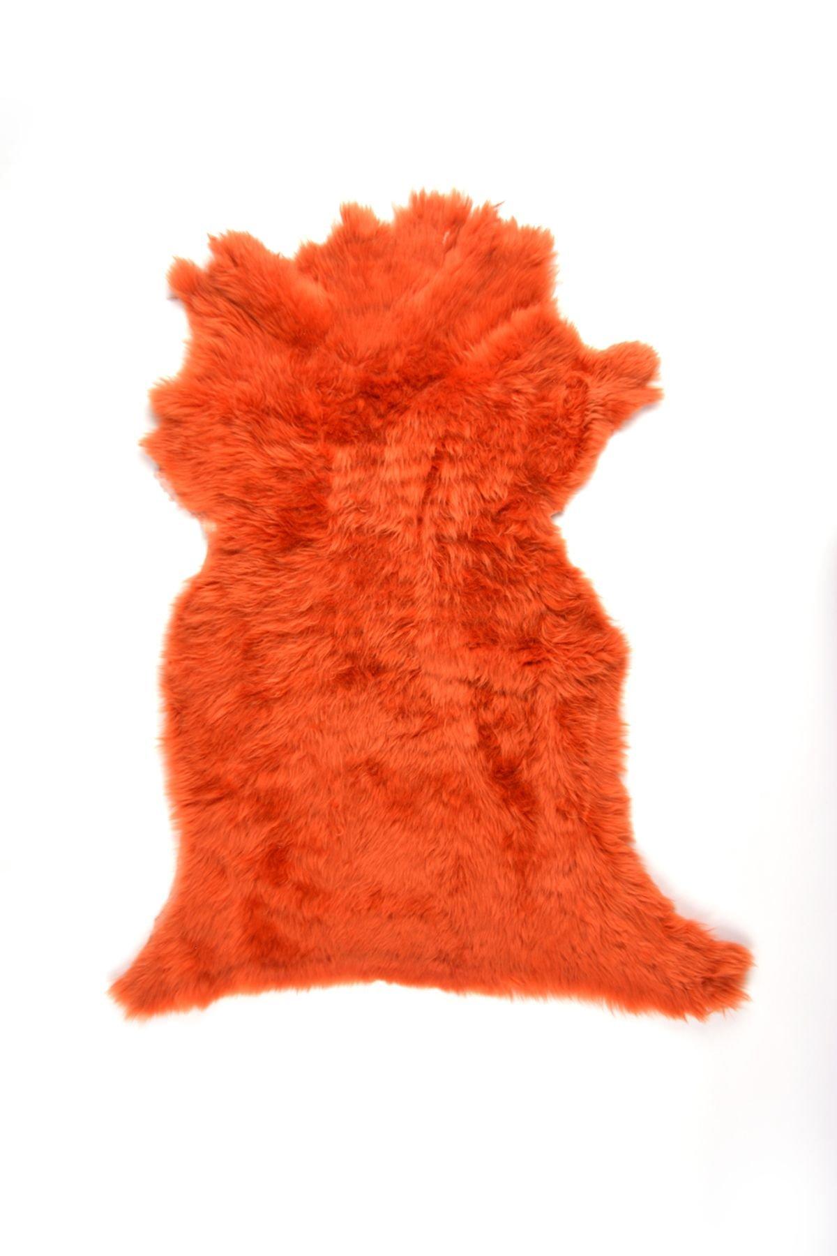 Erdogan Deri Decorative Sheepskin Rug Orange