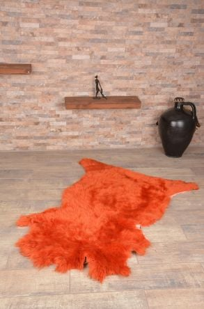 Erdogan Deri Decorative Sheepskin Rug Orange