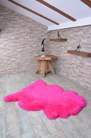Erdogan Deri Decorative Sheepskin Rug Magenta