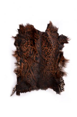 Erdogan Deri Decorative Sheepskin Rug With Leopard Pattern Brown