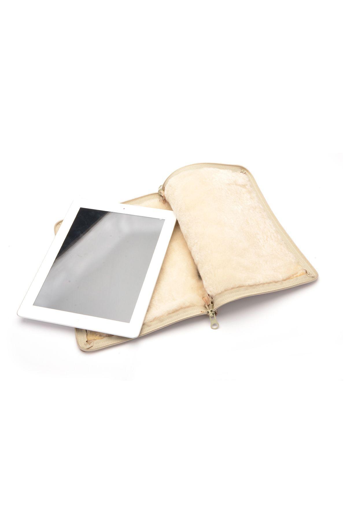Pegia Hakiki Deri İçi Kürk Tablet Kılıfı 17AU01 Vizon