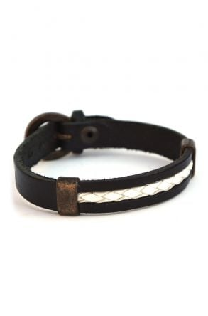 Erdogan Deri Unisex Leather Bangle Black