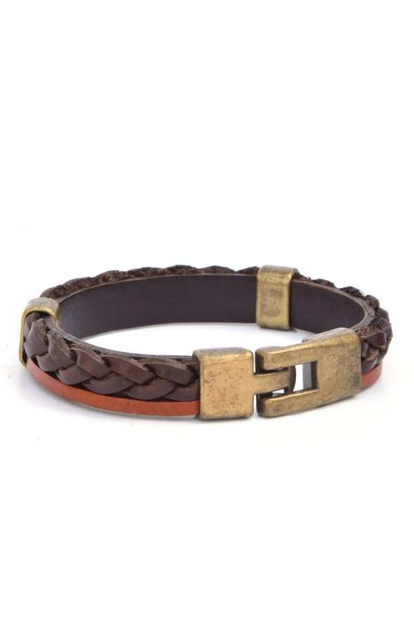 Erdogan Deri Unisex Leather Bangle Brown