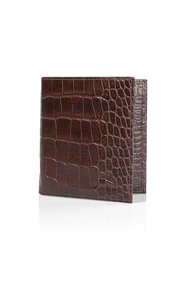 White Rabbit Pocket Leather Wallet With Crocodile Pattern Brown