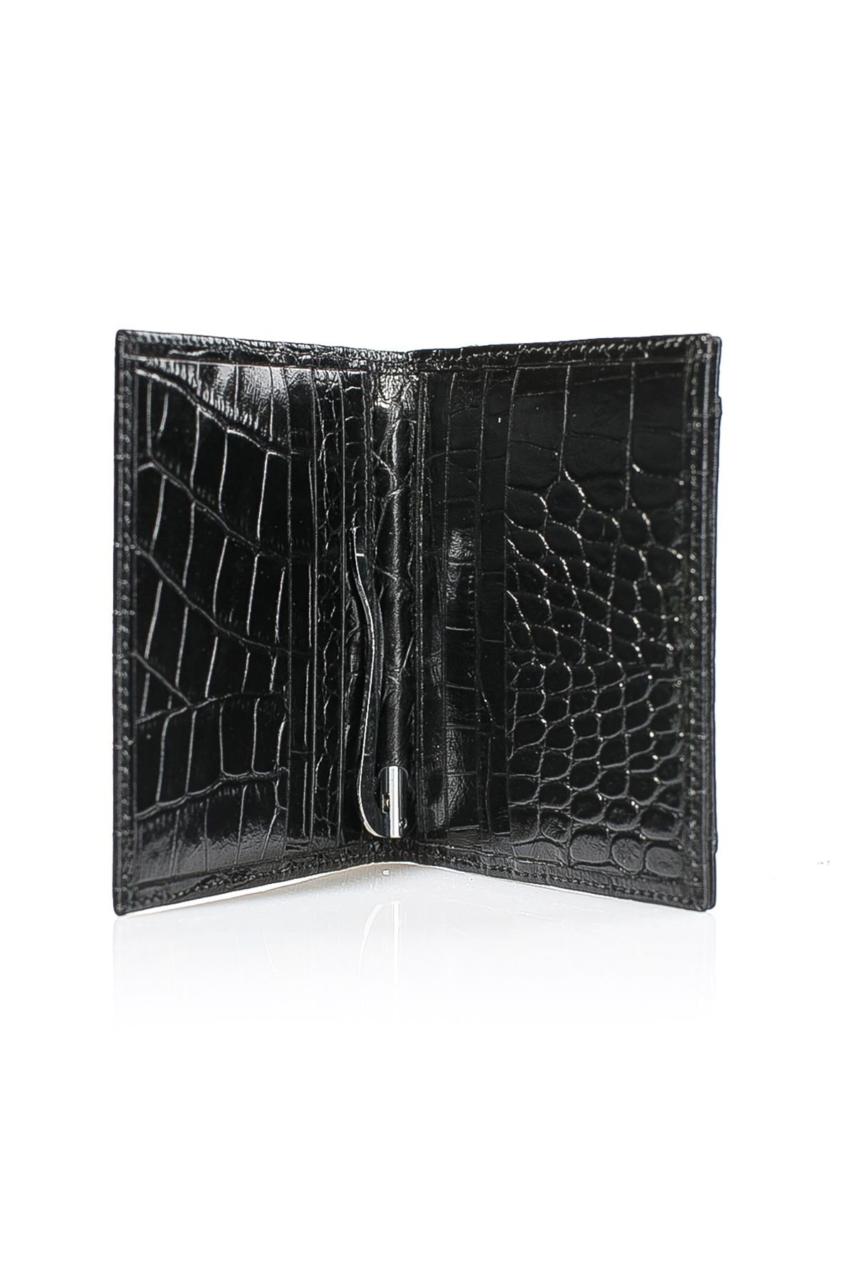 White Rabbit Pocket Leather Wallet With Crocodile Pattern Black