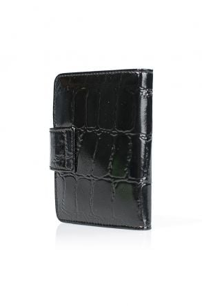White Rabbit Pocket Wallet From Polished Leather With Crocodile Pattern Black