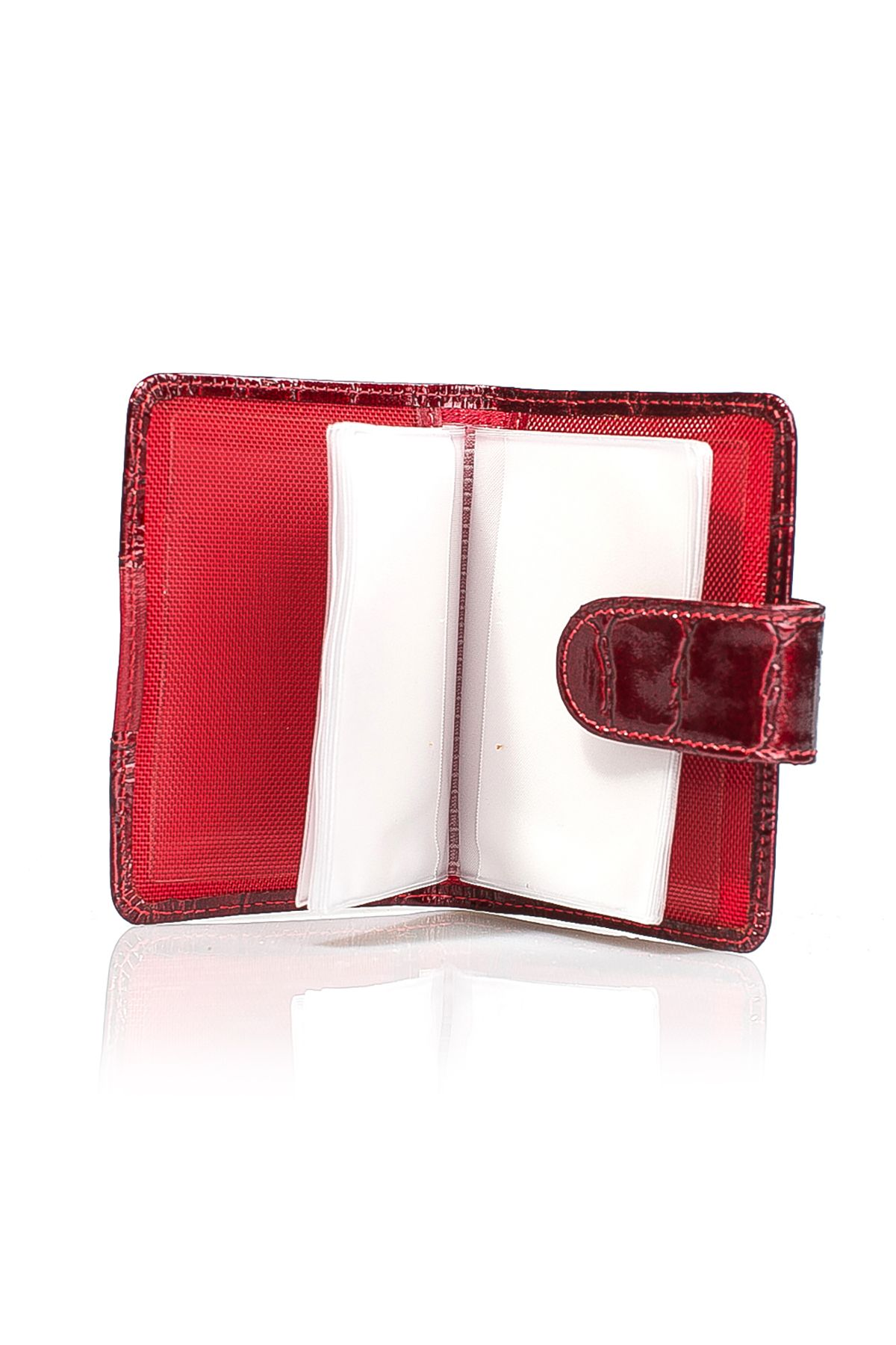 White Rabbit Pocket Wallet From Polished Leather With Crocodile Pattern Red
