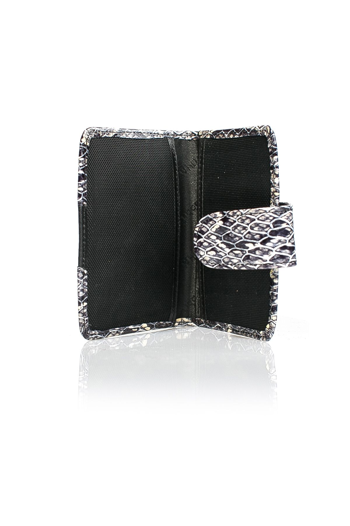 White Rabbit Pocket Wallet From Polished Leather With Anaconda Pattern Navy blue
