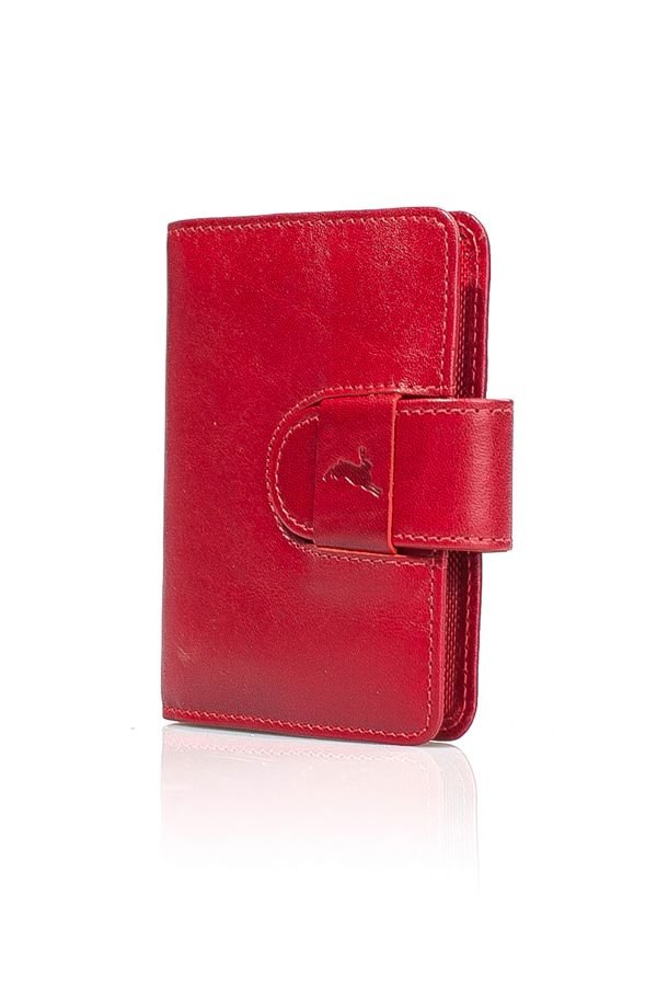 White Rabbit Leather Wallet For Credit Cards Red