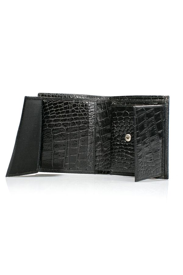 White Rabbit Leather Wallet With Crocodile Pattern Black