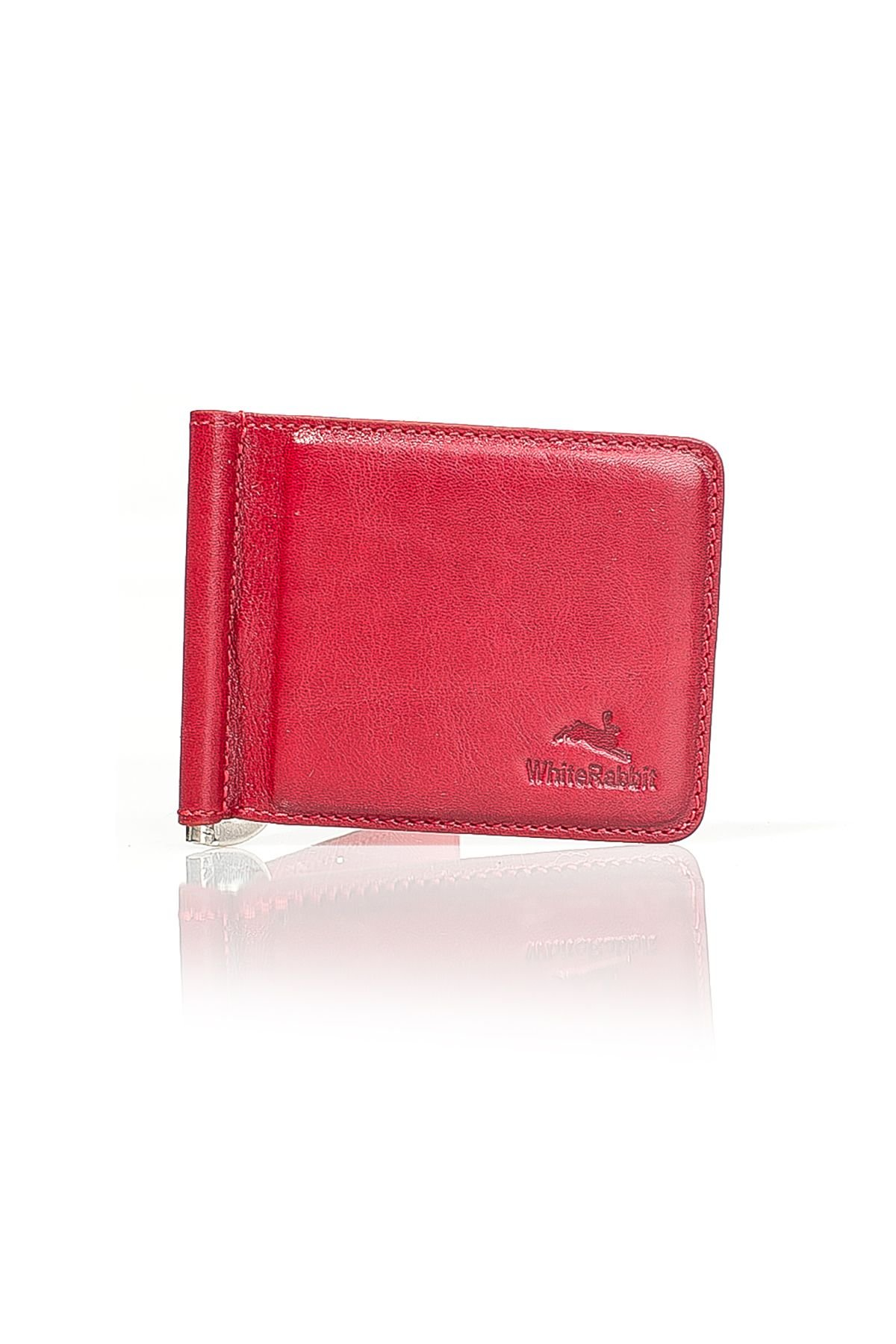 White Rabbit Leather Money Clip Red
