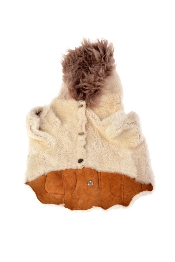 Pegia Dog Jacket From Genuine Fur With Capuchon White