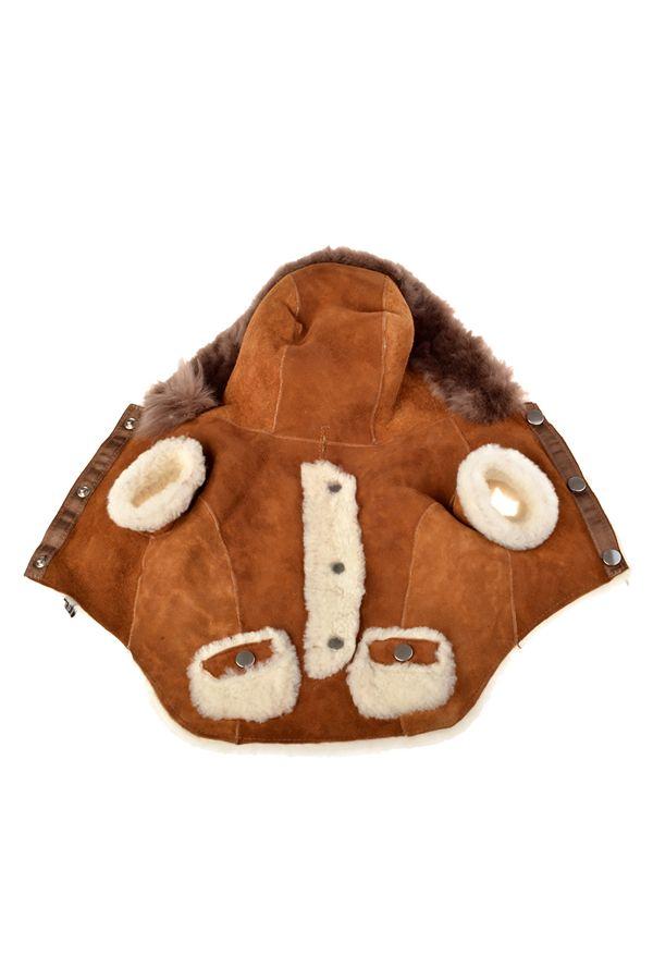 Pegia Меховая Куртка С Капюшоном Для Собак Рыжий