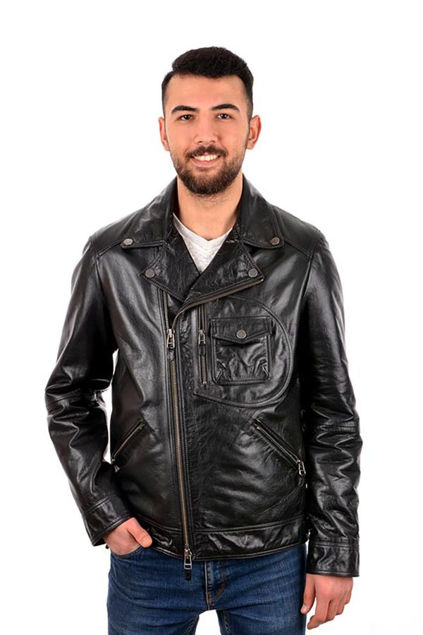 Pegia Men Jacket From Vintage Leather Black