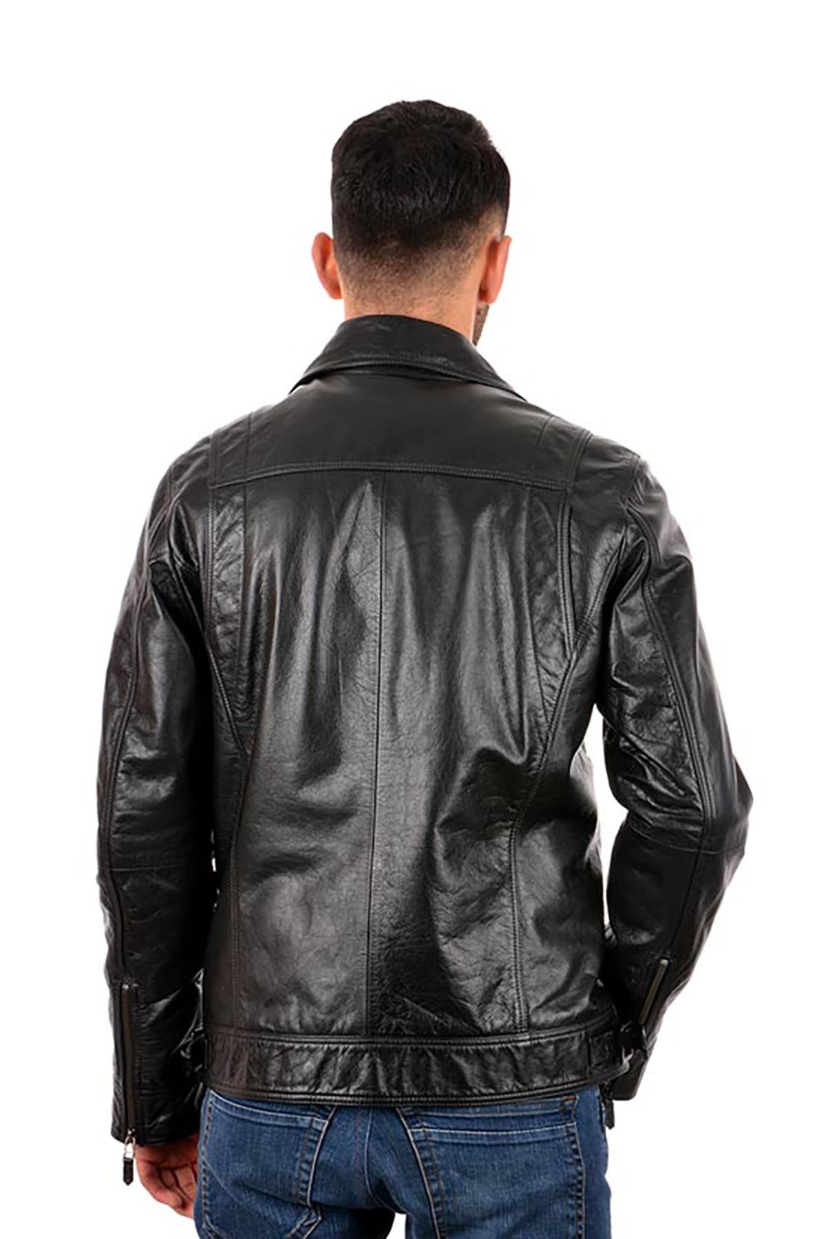 Pegia Hakiki Vintage Deri Erkek Ceket Siyah