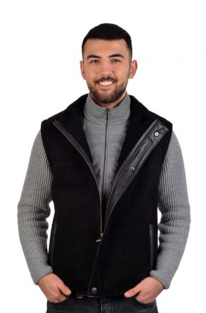 Pegia Men Vest From Genuine Suede With Neck-Piece Black